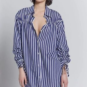The Cinched Boyfriend Shirt in Sailor Stripe